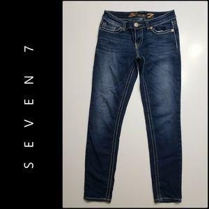 Seven 7 Woman Denim Blue Skinny Jeans Size 29